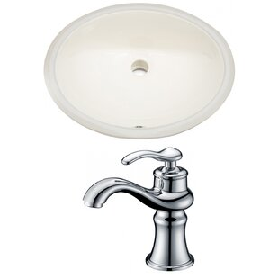 Best Deals CUPC Ceramic Oval Undermount Bathroom Sink with Faucet and Overflow By Royal Purple Bath Kitchen