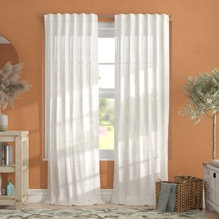 Leon Solid Sheer Tab Top Curtain Panels (Set of 2) by Alcott Hill