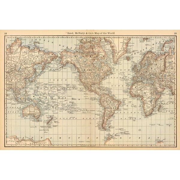 Swag Paper Map Of The World Wall Mural U0026 Reviews   Wayfair