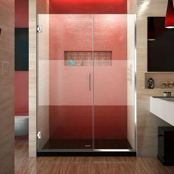 Arizona Shower Door Scottsdale 49 X 72 Hinged Frameless Shower Door With Invisible Shield By Clean X Wayfair