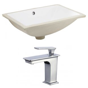 Affordable Price Ceramic Rectangular Undermount Bathroom Sink with Faucet and Overflow By American Imaginations