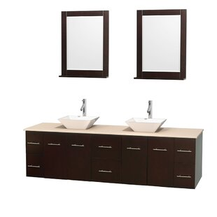 Centra 80 Double Espresso Bathroom Vanity Set with Mirror by Wyndham Collection