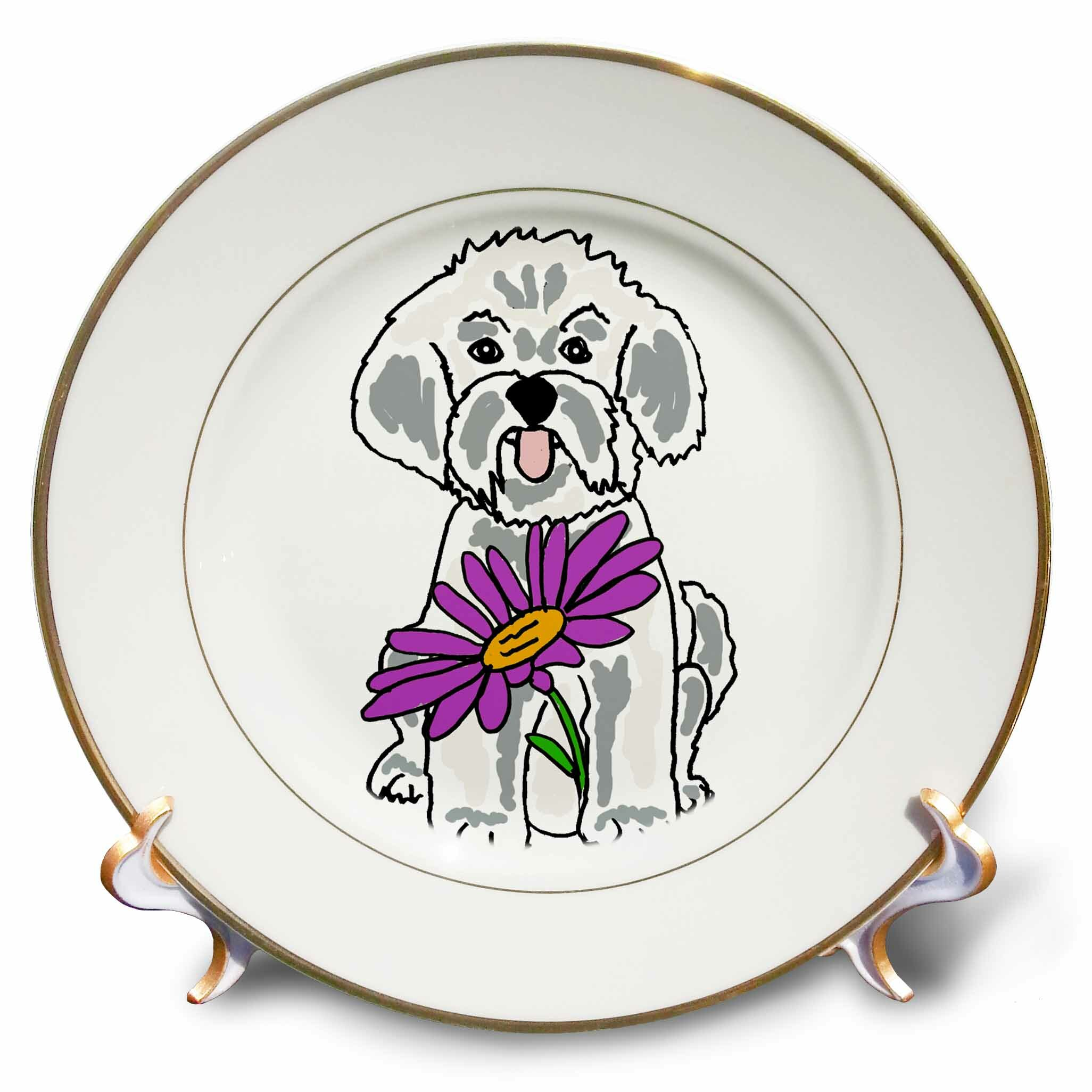 East Urban Home Funny Cool Bichon Frise Puppy Dog With Daisy Flower Porcelain Decorative Plate Wayfair