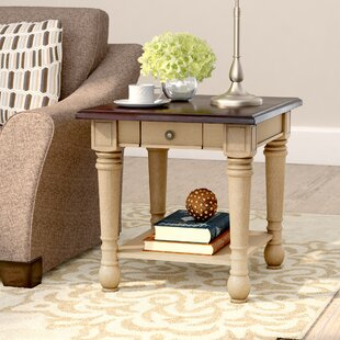 Three Posts Classic Two Tone End Table With Storage