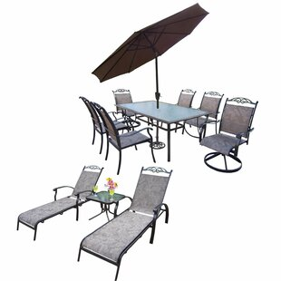 August Grove Basile 12 Piece Dining Set with Umbrella