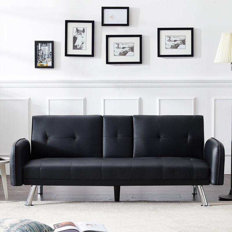 Latitude Run Mid-Century Modern Upholstered Convertible Folding