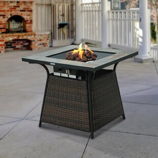 Rattan Propane Gas Fire Pit Table By Outsunny