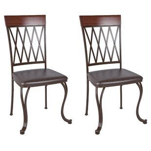 Red Barrel Studio Gravity Genuine Leather Upholstered Dining Chair (Set of 2)
