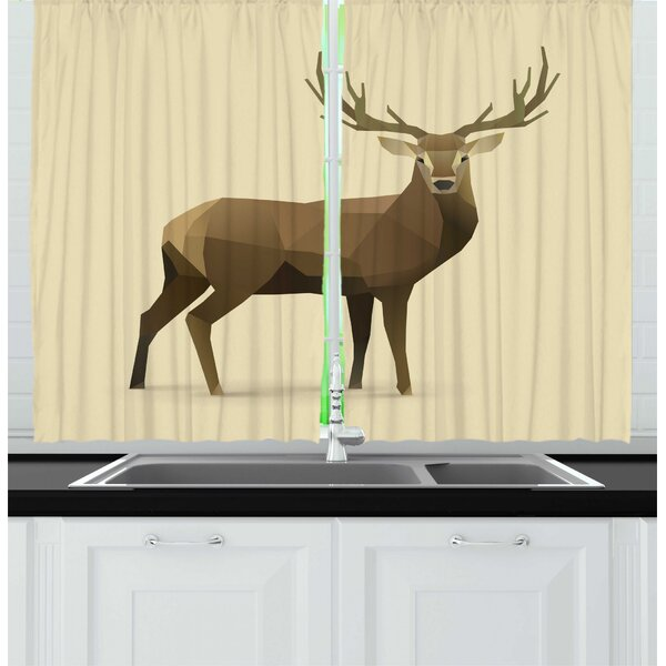 East Urban Home 2 Piece Polygons Modern Illustration Of Geometric Deer Forest Elk Wildlife Animal Kitchen Curtain Set Wayfair