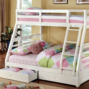 Flower Twin over Full Bunk Bed with Drawers