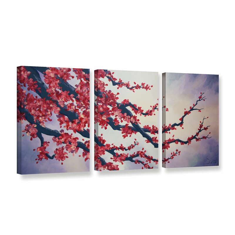 Red Cherry Blossom By Shiela Gosselin 3 Piece Painting Print On Wred Canvas Set