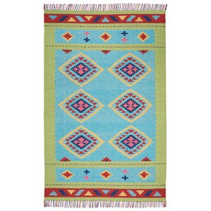 Rocky Hand Woven Blue/Green Area Rug