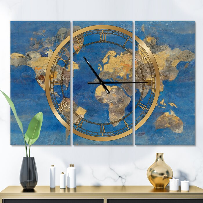 Oversized World Map Glam 3 Panel Metal Wall Clock