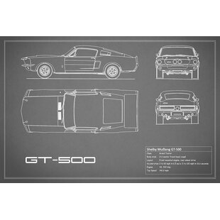 'Shelby Mustang GT500' Graphic Art Print on Canvas in Gray ByEast Urban Home