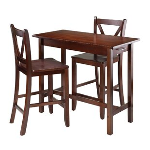 Kitchen Island 3 Piece Counter Height Dining Set Winsome