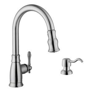Soleil Single Handle Arc Kitchen Faucet with Soap Dispenser