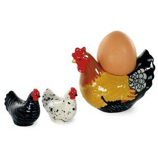 Spatter Hens 3 Piece Egg Cup, Salt and Pepper Set