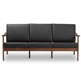 Kellner Mid Century Modern Faux Leather Sofa