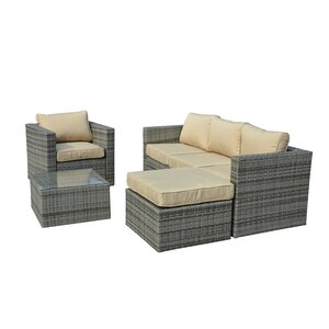 Rister 4 Piece Rattan Sectional Seating Group with Cushions