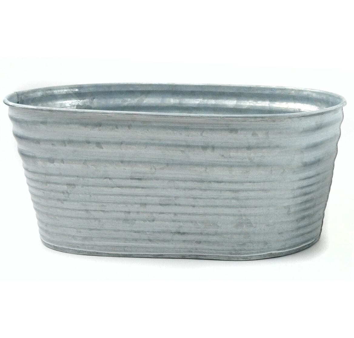 Gracie Oaks Galvanized Tin Oblong 3 Piece Bucket Set Reviews Wayfair