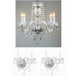 Chandelier wall sconce wayfair lippincott 3 piece candle style chandelier and wall sconce set aloadofball Image collections