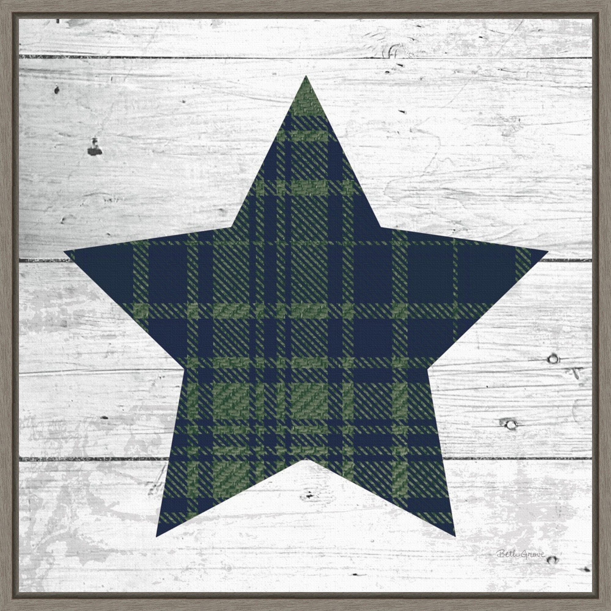 The Holiday Aisle Nordic Holiday Xii Plaid Navy Green Christmas Star By Beth Grove Floater Frame Painting Print On Canvas Wayfair