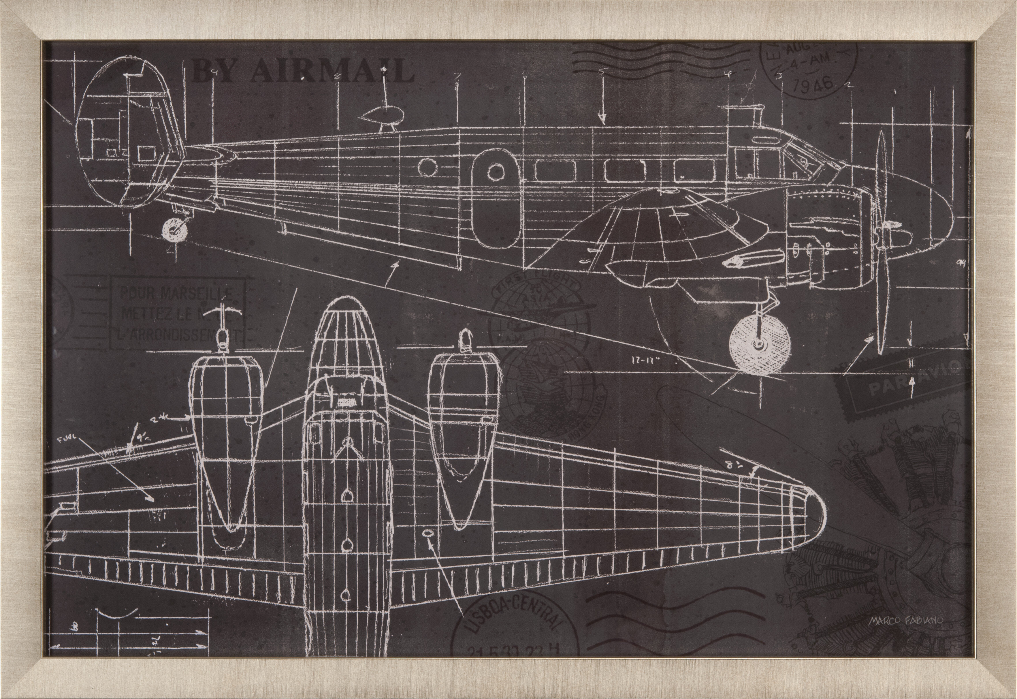 Trends plane blueprint i framed graphic art birch lane malvernweather Images