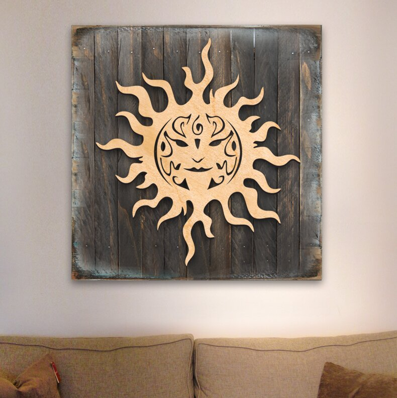Celtic Sun Charm Wooden Block Sign Wall Decor