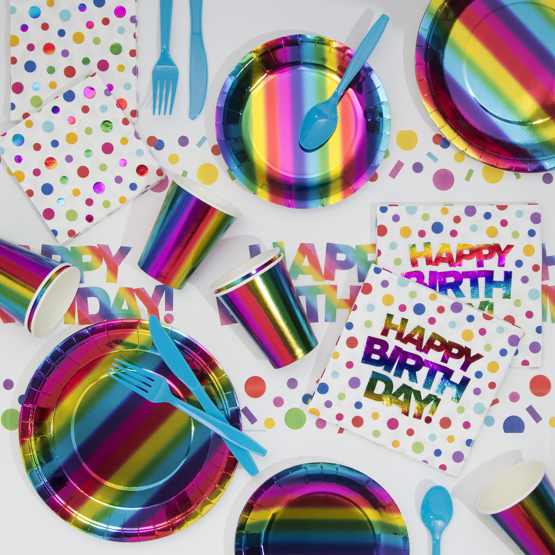 Creative Converting Rainbow Foil Birthday Paper Plastic Party Supplies Kit Wayfair Ca