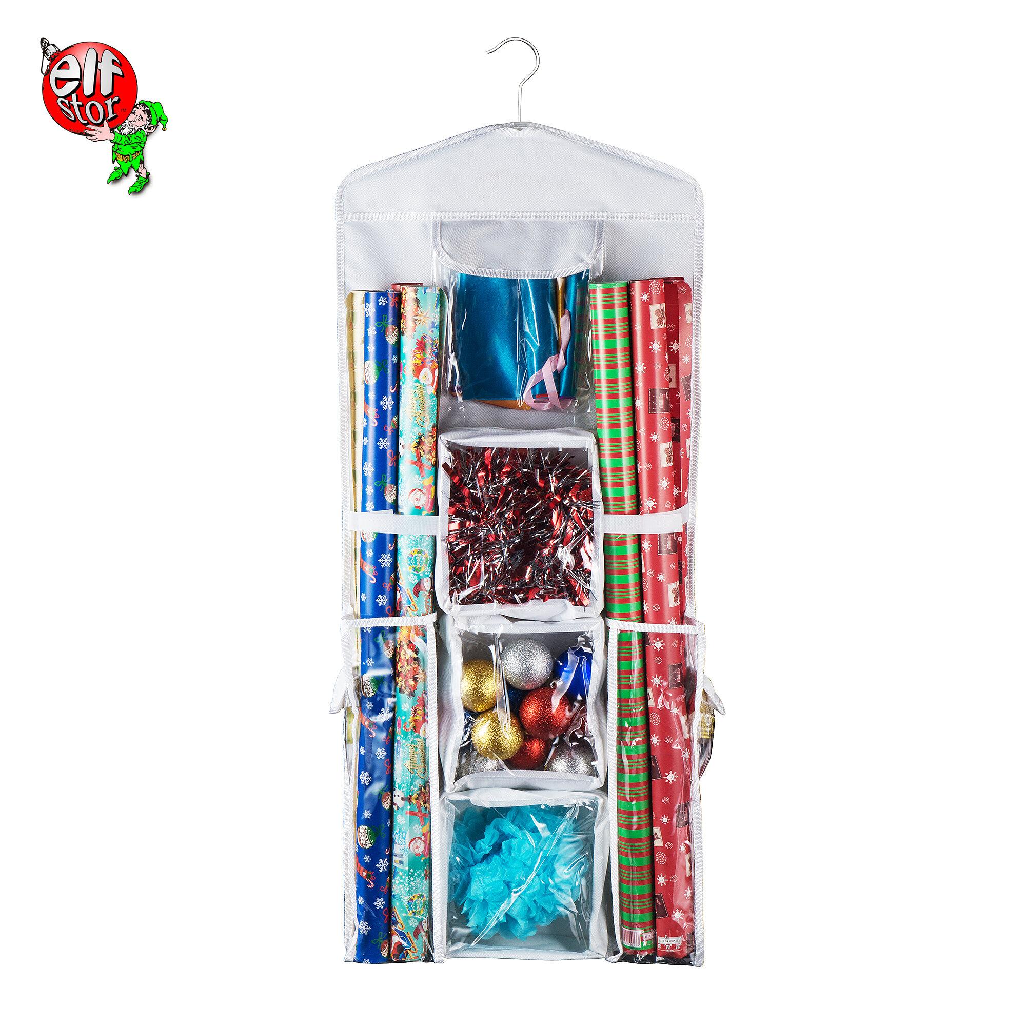 Sac de rangement organiseur pour papier cadeau et rubans