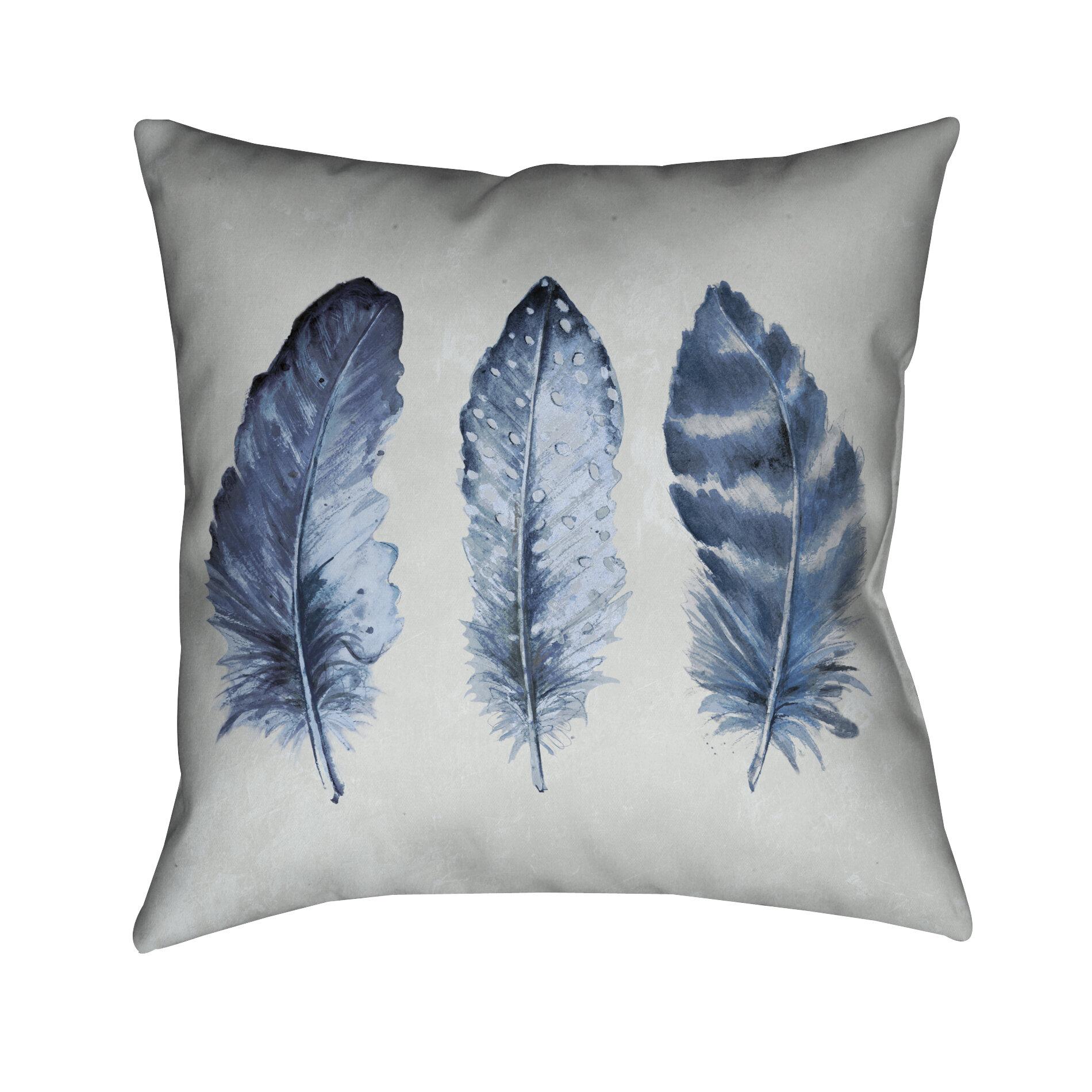 Wrought Studio Wilmoth Indigo Feathers Throw Pillow Wayfair