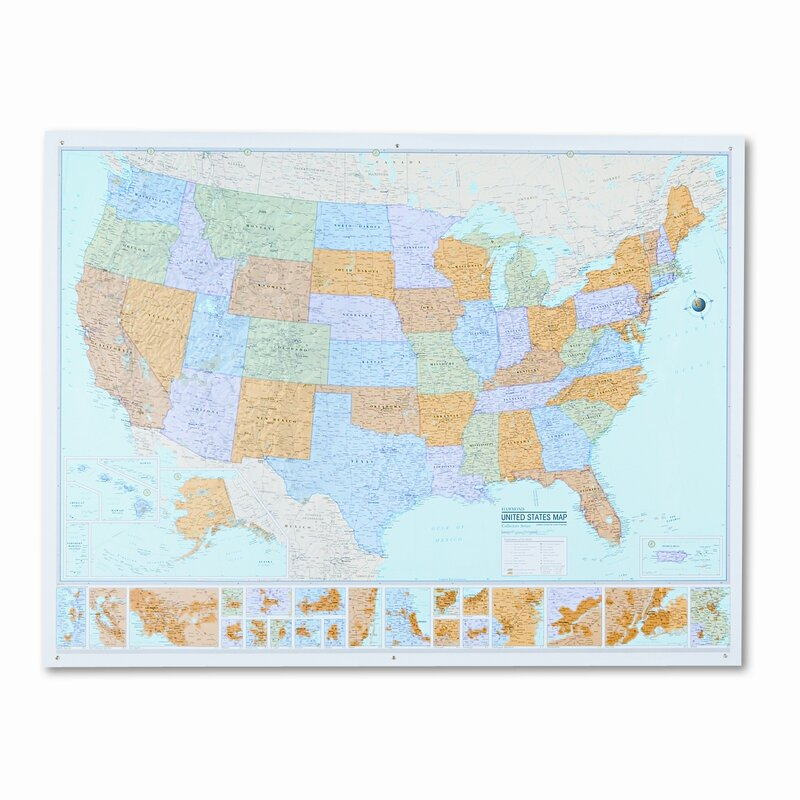 American Map Company Rand Mcnally MSeries FullColor Laminated - Rand mcnally us wall map