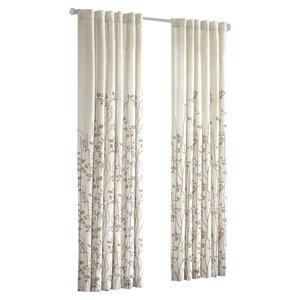 Tipton Nature/Floral Semi-Sheer Rod Pocket Single Curtain Panel