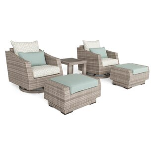 Greenfield Deluxe 5 Piece Rattan Sunbrella Conversation Set with Cushions