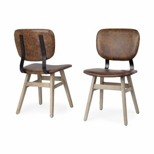 Bagwell Genuine Leather Upholstered Dining Chair (Set of 2) Foundry Select