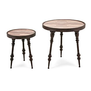 Suttle Wood and Metal 2 Piece End Table Set