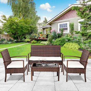 Amaryllis Patio 4 Piece Rattan Sofa Set with Cushions