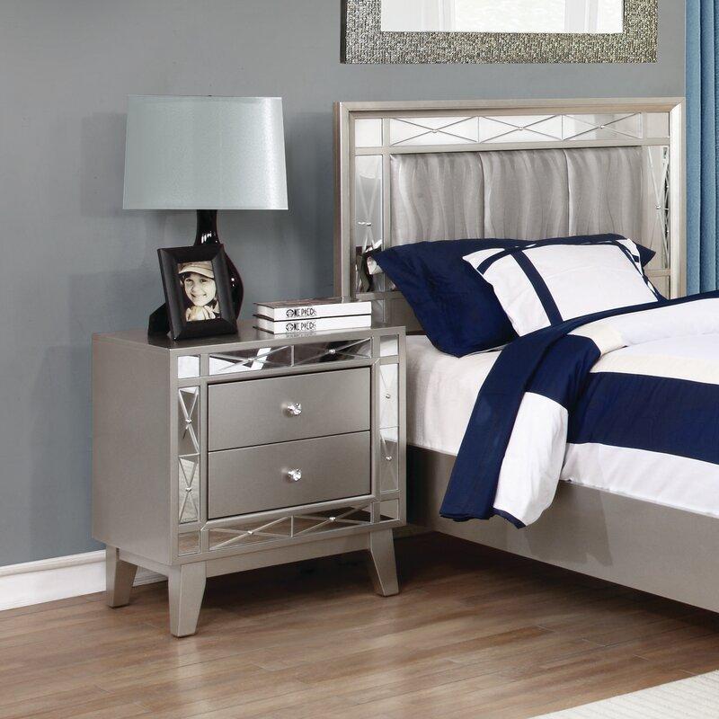 willa arlo interiors alessia 2 drawer nightstand & reviews   wayfair Nightstand Design