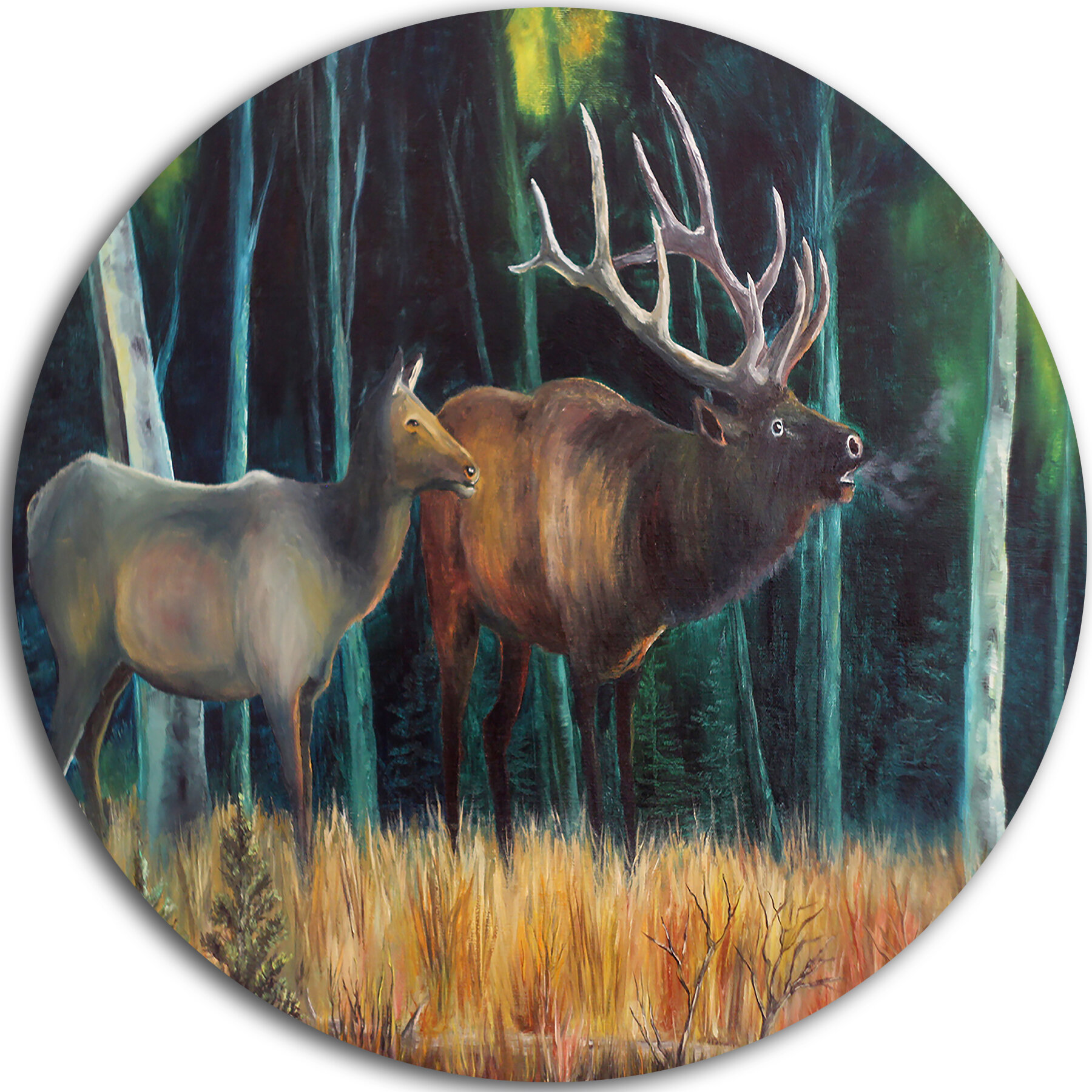 Designart Wandering Deer In Forest Graphic Art Print On Metal Wayfair