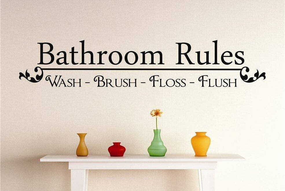 Design With Vinyl Bathroom Rules Wall Decal | Wayfair