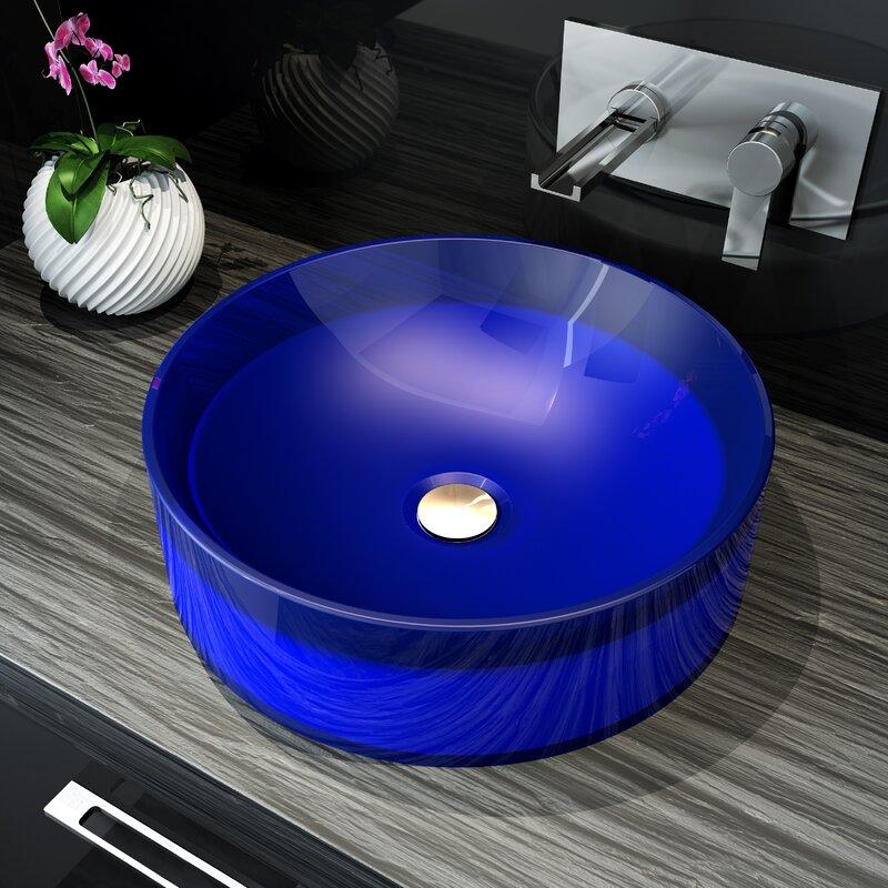 A&E Bath and Shower Meli Circular Vessel Bathroom Sink  Sink Finish: Blue