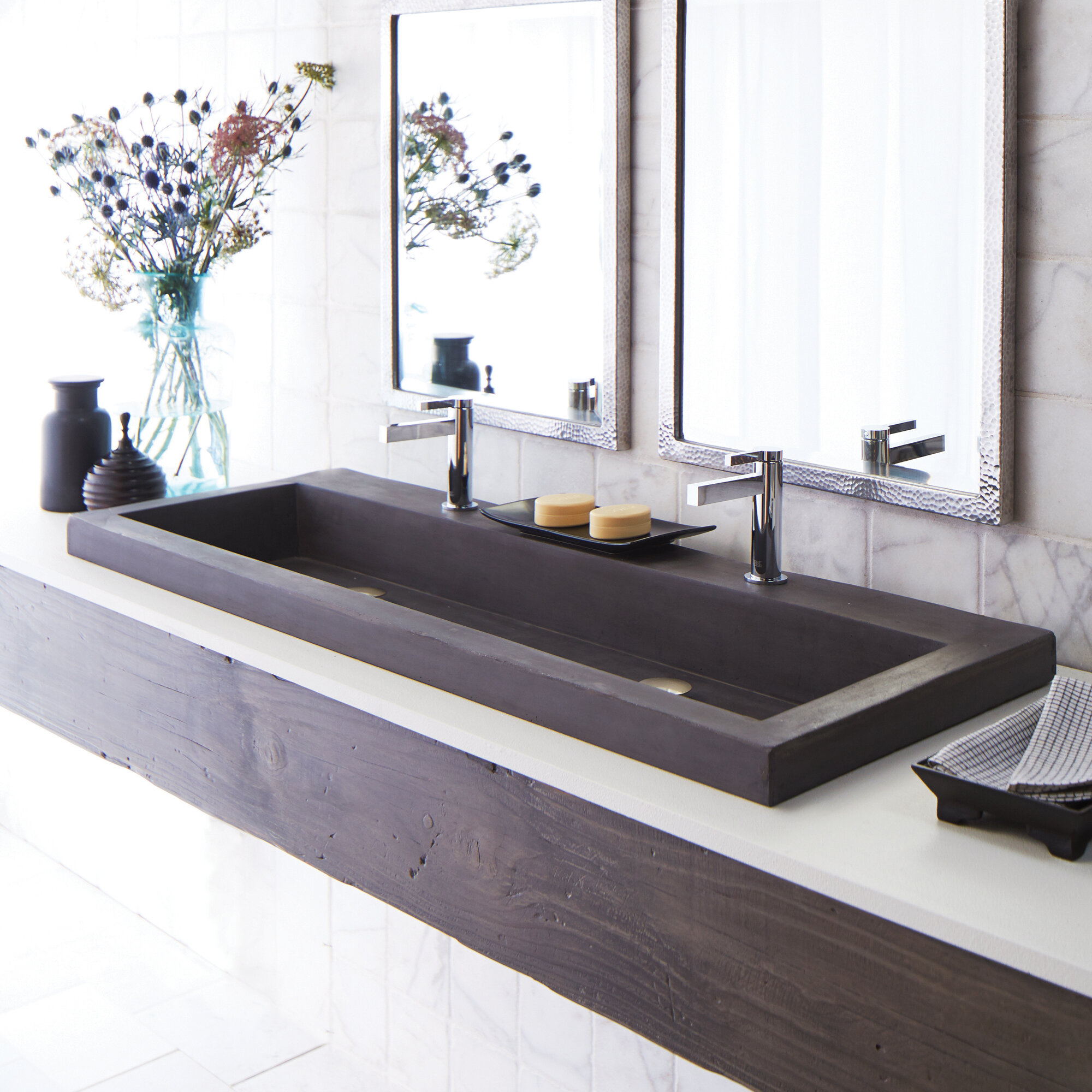 Rectangular Trough Bathroom Sink