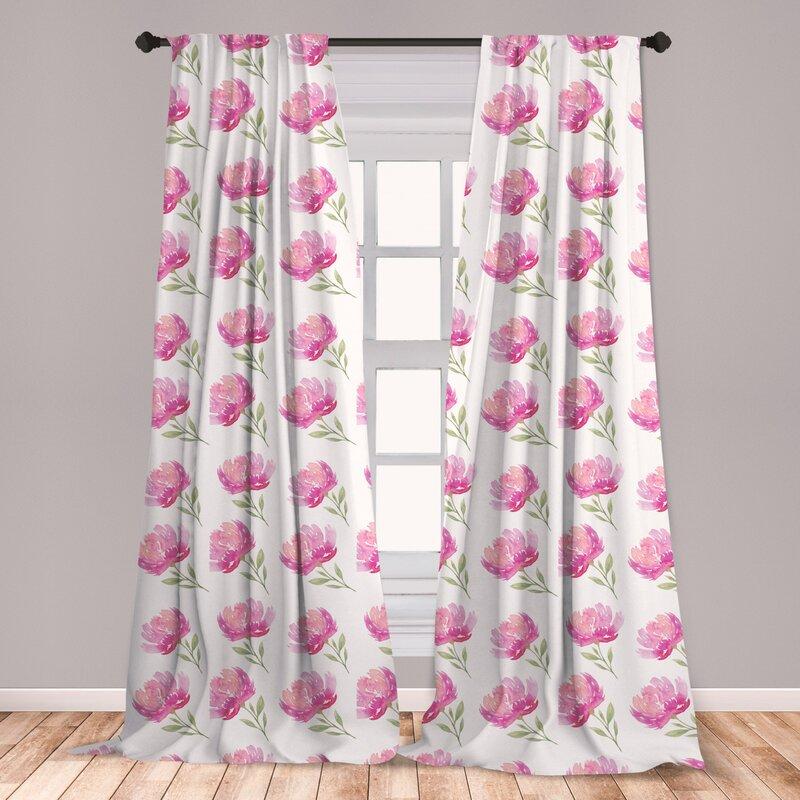 East Urban Home Watercolor Flowers Room Darkening Rod Pocket Curtain Panels Wayfair