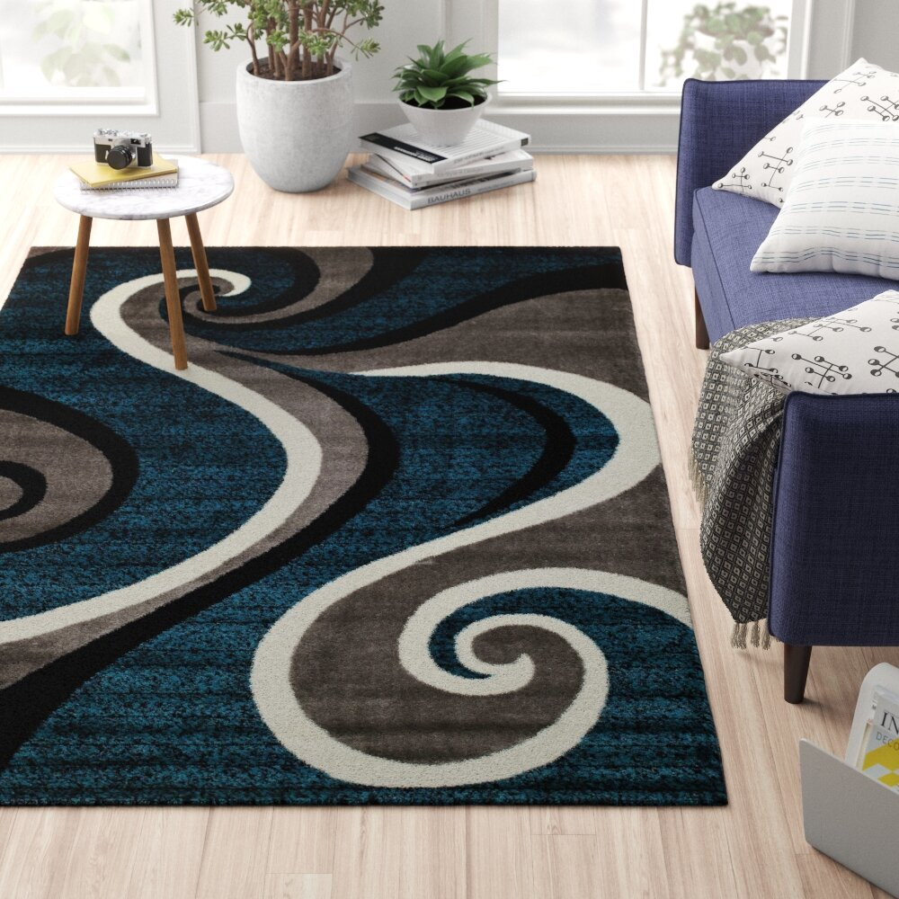 Zipcode Design Rick Abstract Blue Gray White Area Rug Reviews Wayfair