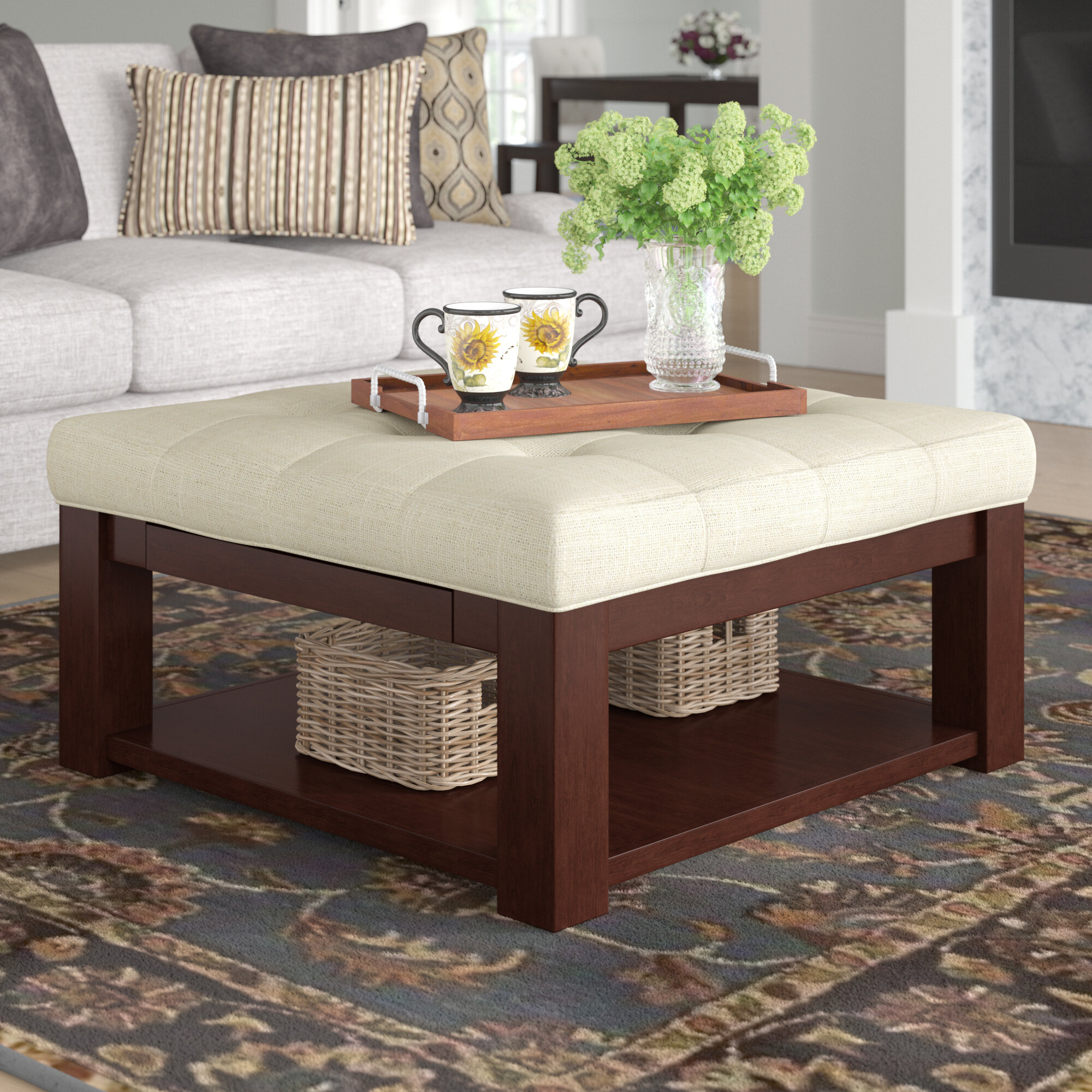 Three Posts Abshire Tufted Cocktail Ottoman Reviews Wayfair