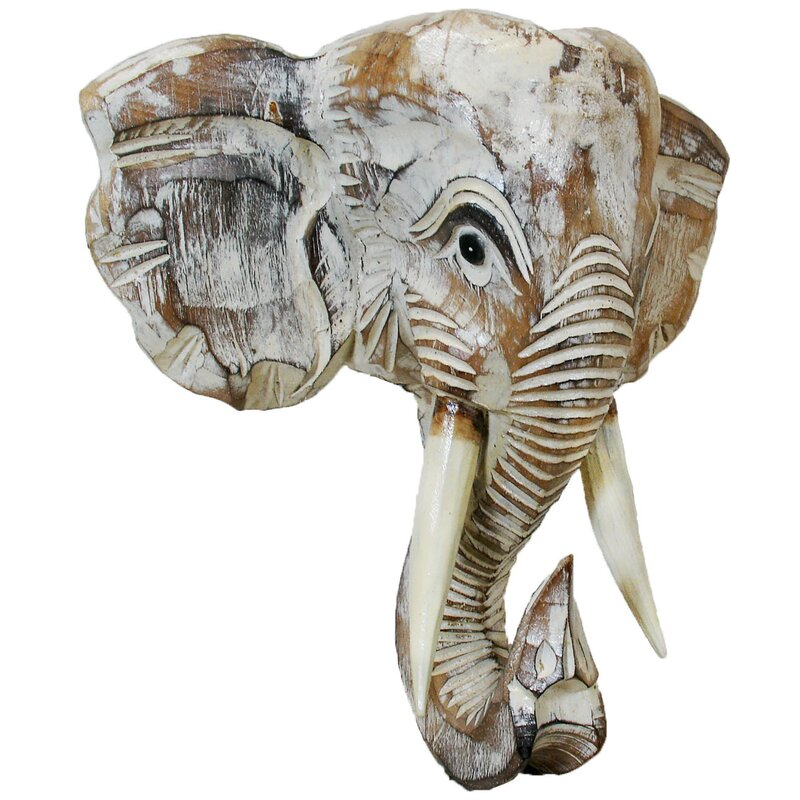 tan and white  large wall hanging Handcrafted Wood Tribal Elephant Head brown