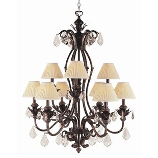 Crystal Flair 9 Light Chandelier with Crystal Accents by TransGlobe Lighting