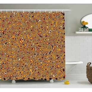 Tracie Abstract Golden Hallucinatory Plasma Shape Ethnic Eastern Marbleized Print Single Shower Curtain