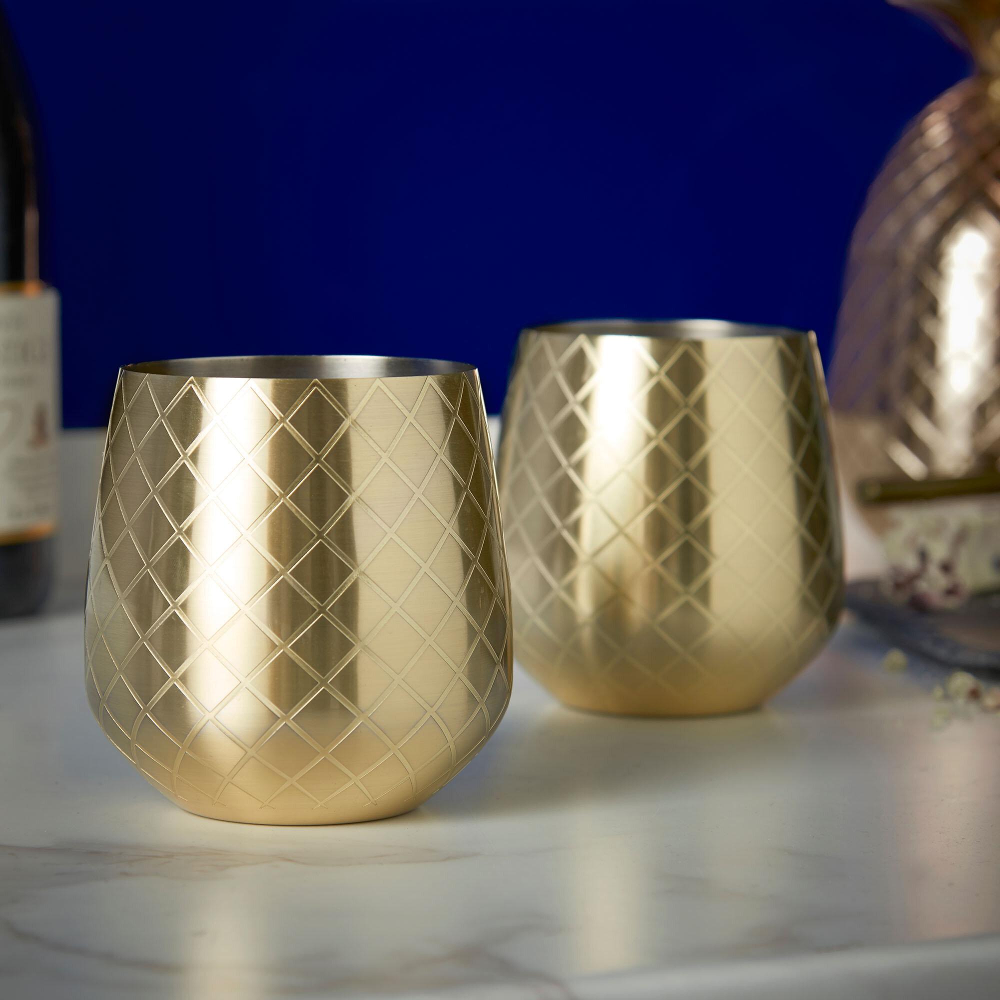 Vonshef 12 Oz Stainless Steel Stemless Wine Glass Wayfair