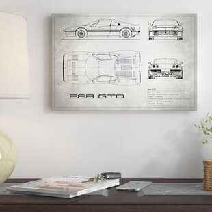 'Ferrari 288 GTO' Graphic Art Print on Canvas in Vintage Silver By East Urban Home